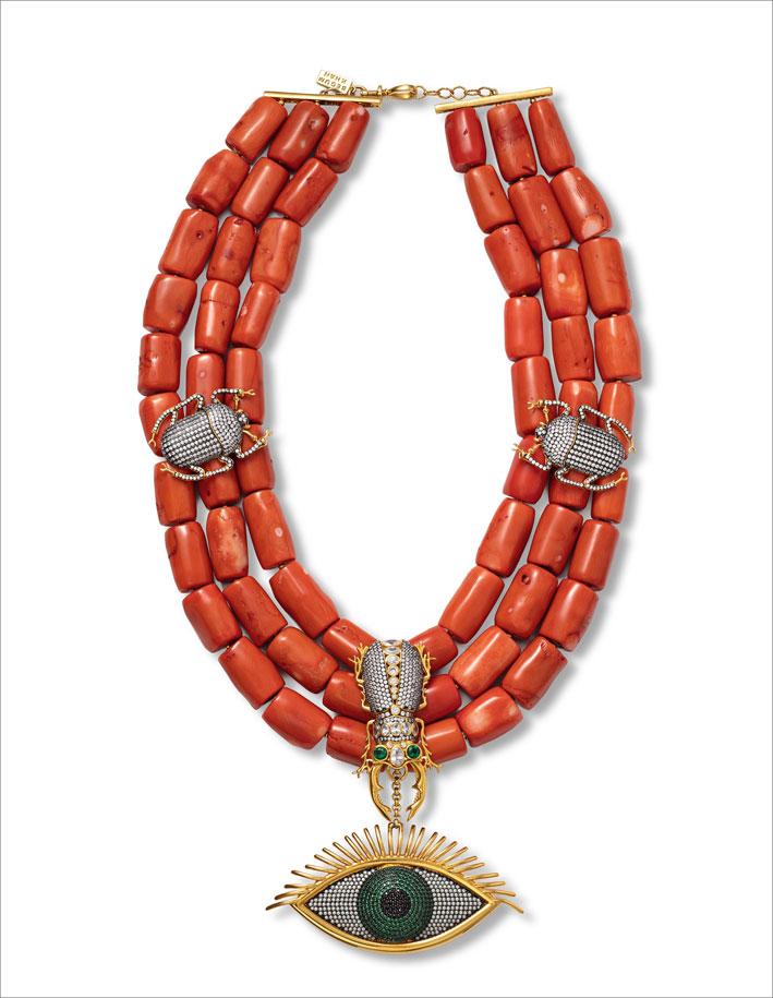 Collana in bronzo placcato oro con cubic zirconia e radice di smeraldo