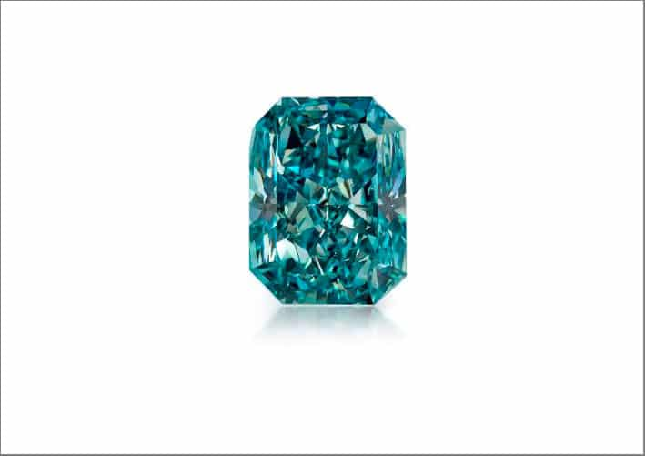 Fancy Vivid Bluish Green SI1 Rectangular-Shaped Diamond