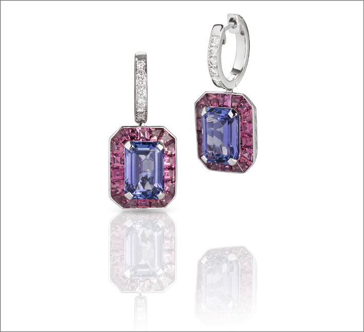 White gold earrings with tanzanite, pink tourmalines and white diamonds