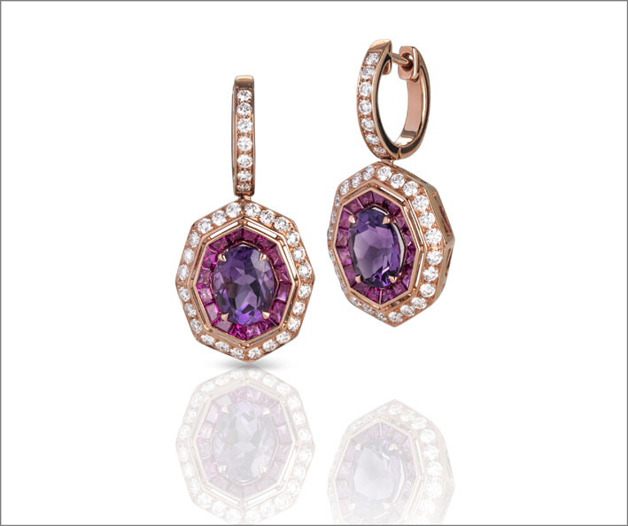 Rose gold earrings with amethyst, ruby and white diamonds