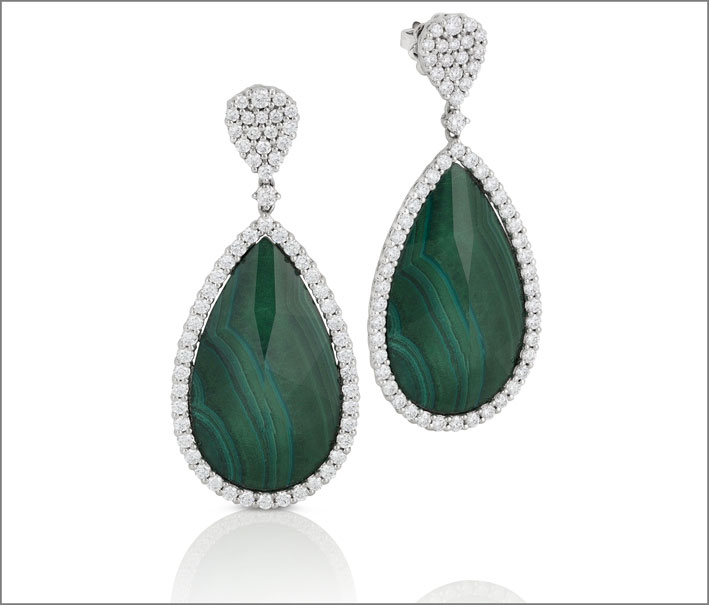 White gold earrings with malachite and crystal rock doublet and diamonds