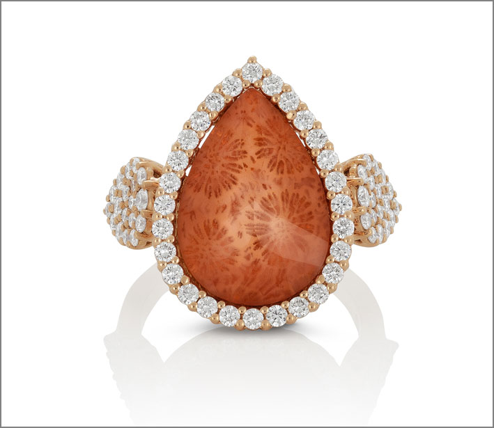 Rose gold ring with mother of pearl, fossil coral and crystal rock triplet and diamonds
