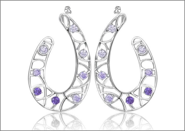 Orecchini in ottone rodiato e cubic zirconia viola