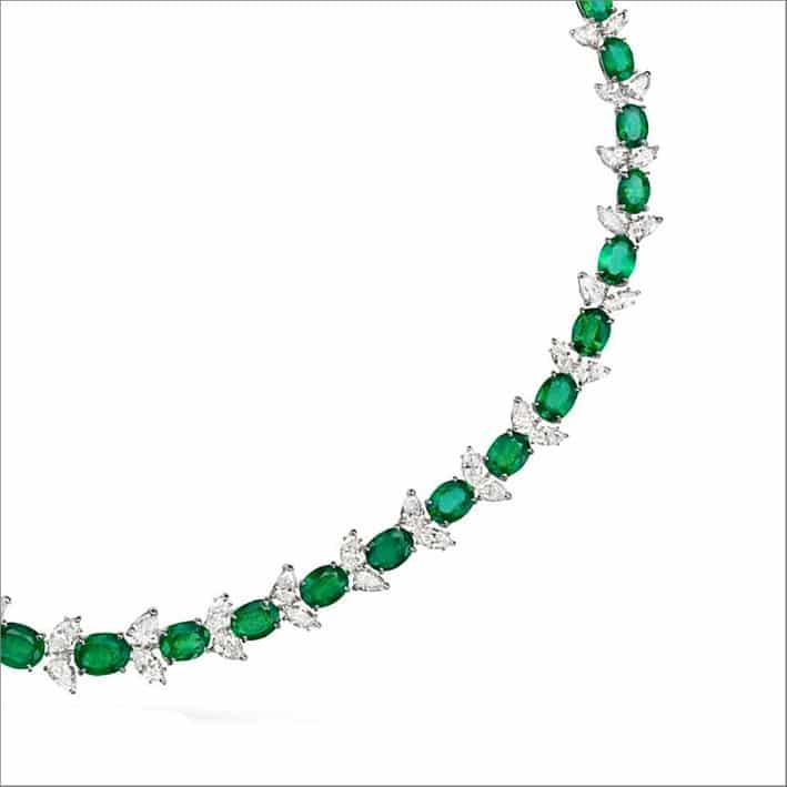 Collana di diamanti e smeraldi