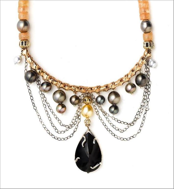 Collana Drapery, con perle South Sea, diamanti,   argento, bronzo, perle di vetro africane