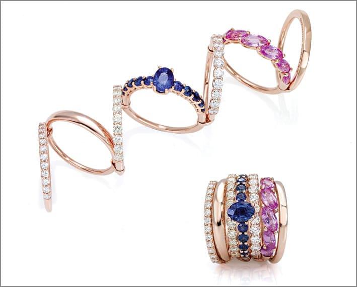 Anello oro rosa, zaffiri blu, zaffiri rosa, diamanti