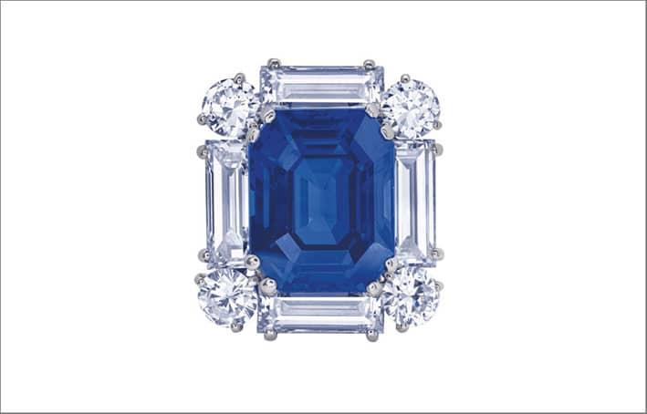 Spilla con zaffiro e diamanti di Cartier