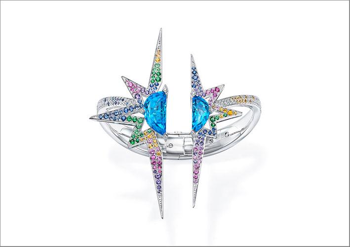 Bracciale Elysium in oro bianco, topazi blu, zaffiri blu, viola, rosa, gialli, grossularite