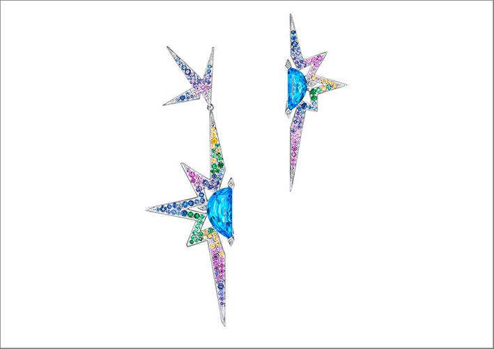 Orecchini Elysium in oro bianco, topazi blu, zaffiri blu, viola, rosa, gialli, grossularite