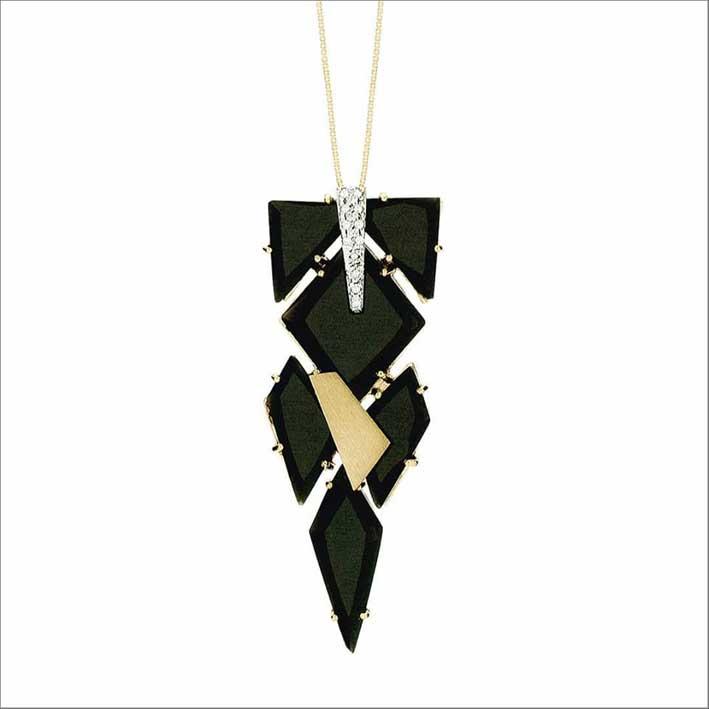 Prendente in oro, diamanti e cristallo