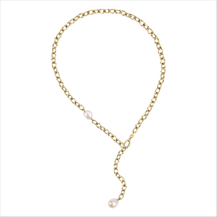 Collana con metallo dorato e perla barocca