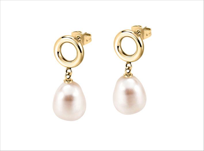 Morellato, orecchini con metallo dorato e perle barocche