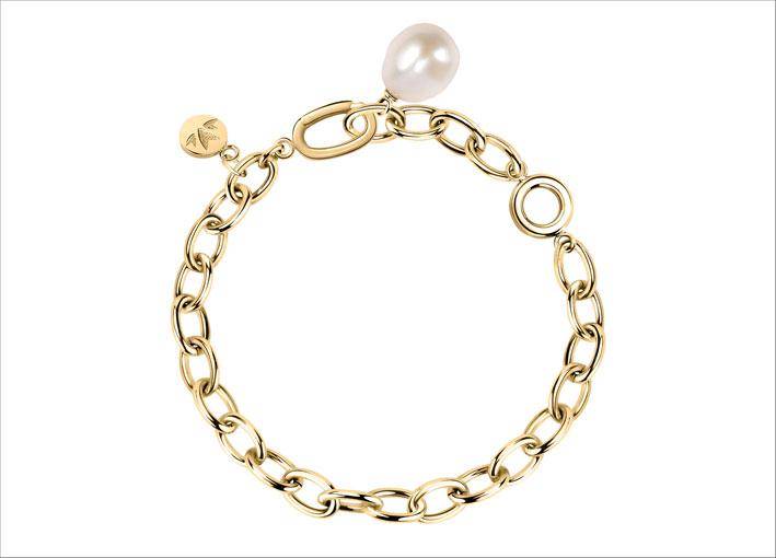 Bracciale con metallo dorato e perla barocca