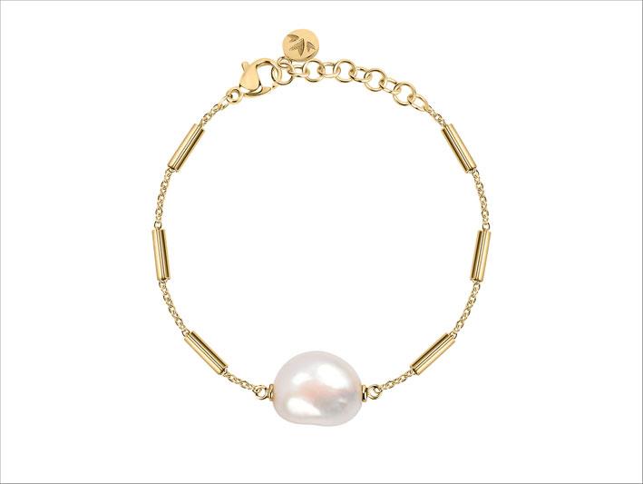 Morellato, bracciale con metallo dorato e perla barocca