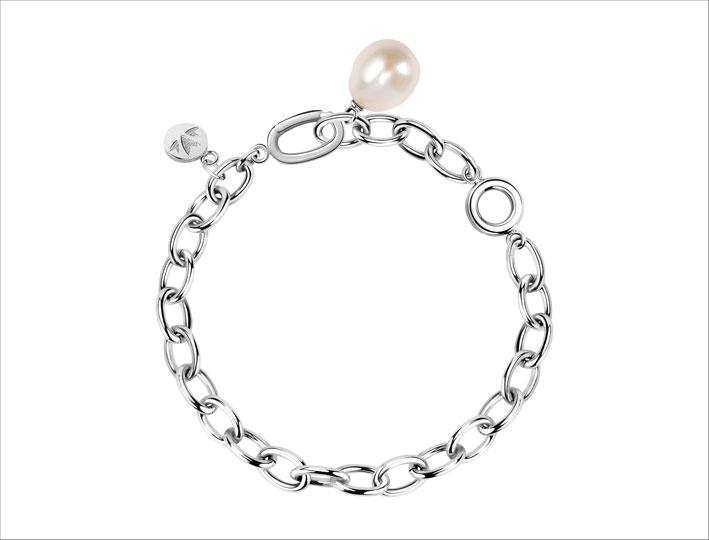 Bracciale in metallo e perla barocca della collezione Oriente