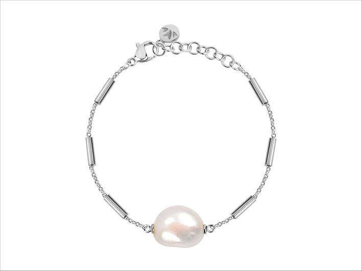 Bracciale in metallo e perla barocca