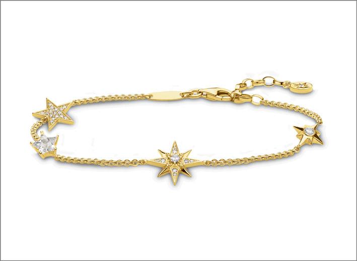 Bracciale in argento placcato oro giallo con zircone