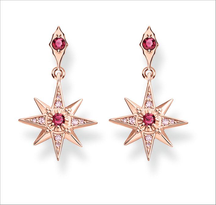 Orecchini in argento placcati oro rosa con zirconi rossi