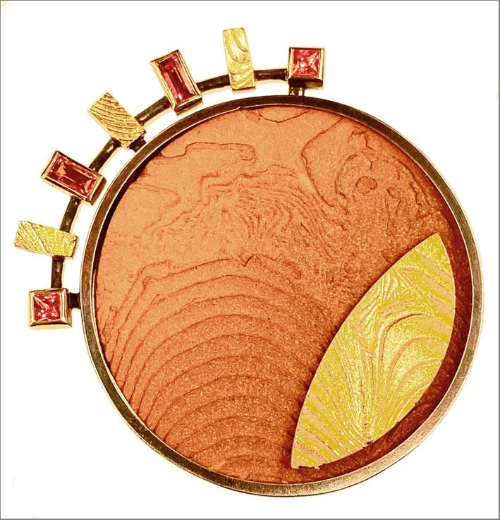 Werner Altinger, Sole Luna Ora, argento, oro 750, terracotta, affiri arancioni, handmade