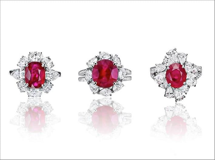 Anelli con diamanti e rubini