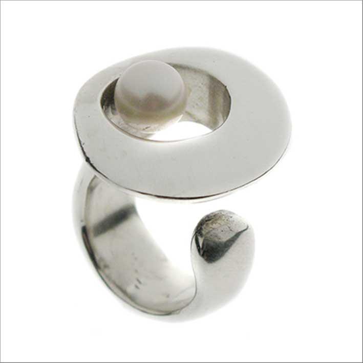Anello Occhio, in argento con perla
