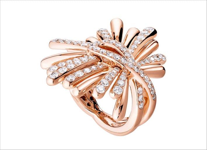 Anello in oro rosa e diamanti della linea Raggiante