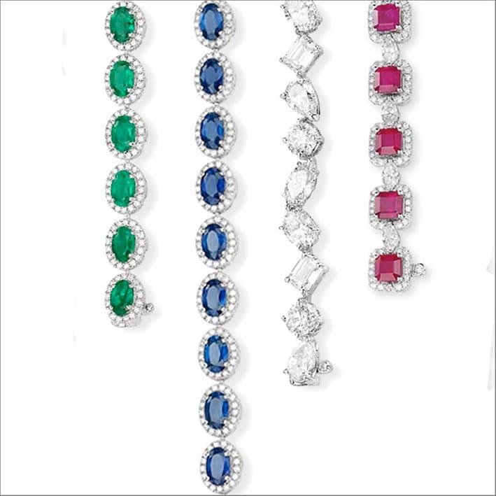 Bracciali con diamanti e pietre preziose