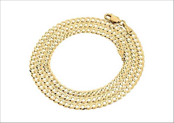 Catena a maglia cubana in oro 10 carati