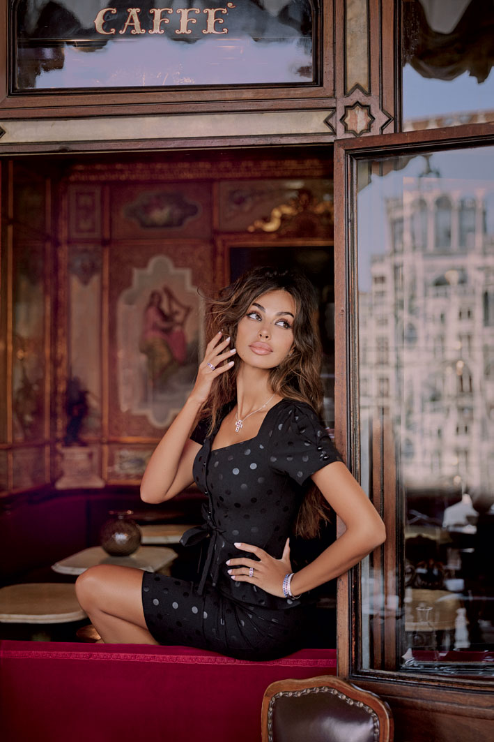 The Damiani camp with Madalina Ghenea, here at the Florian in Venice