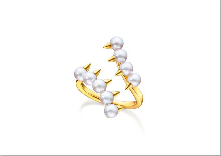 Anello Danger in oro e perle