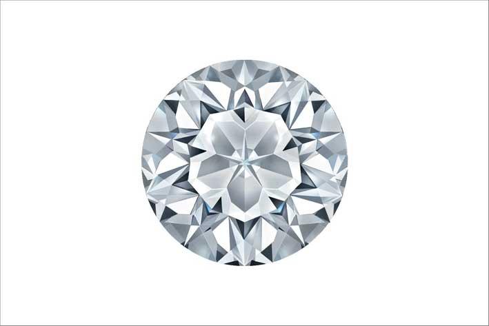 rendering di un diamante con taglio Floro: 77 sfaccettature