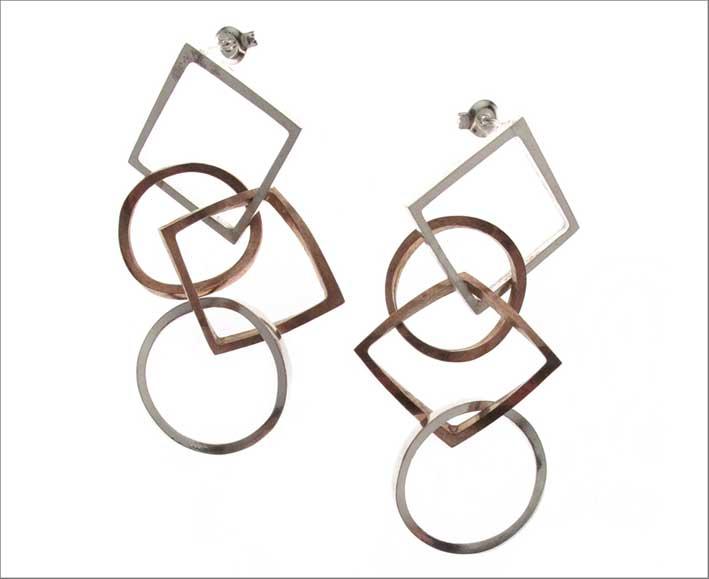 Orecchini quadrati e cerchi in bronzo e argento