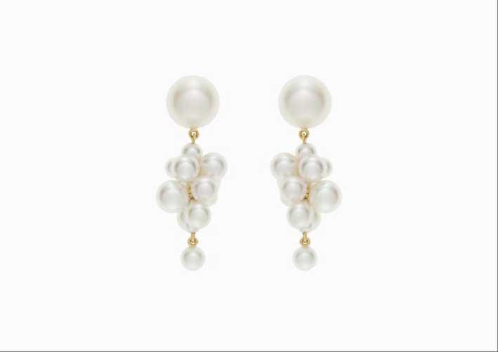 Orecchini in oro 14 carati con perle bianche