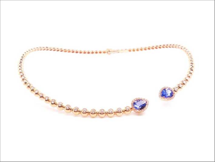 Collana in oro rosa, tanzanite e diamanti