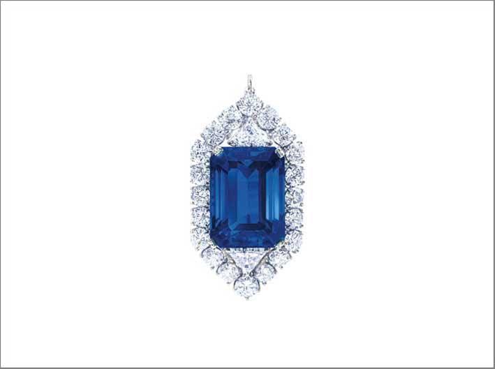 A Burmese octagonal-cut sapphire, weighing 42.97 carats, Graff