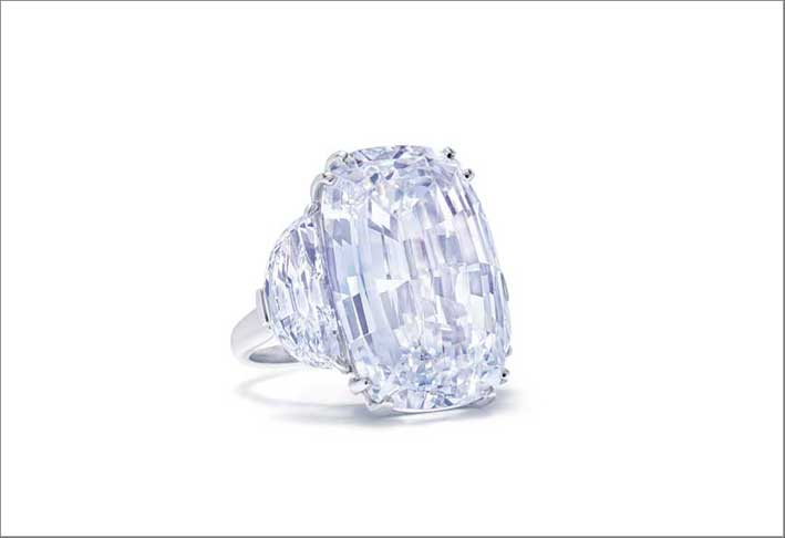A cushion-cut, D colour, Internally Flawless diamond, weighing 46.93 carats