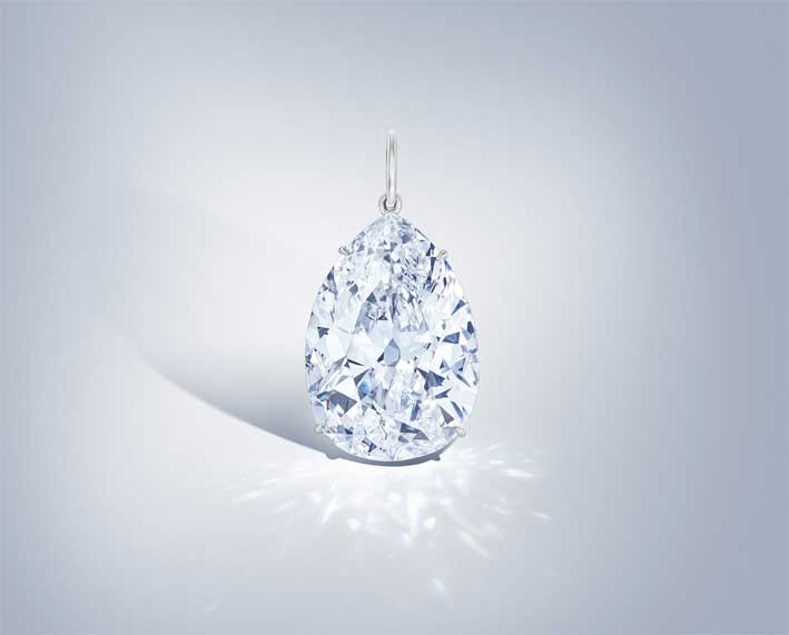 A pear-shaped, D colour, VS1 clarity diamond, weighing 40.18 carats
