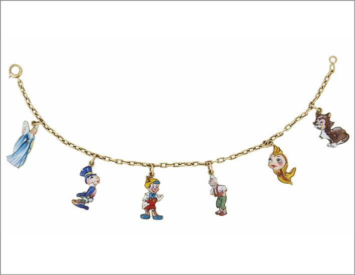 Collana ispirata a Pinocchio di Cartier, oro e smalto