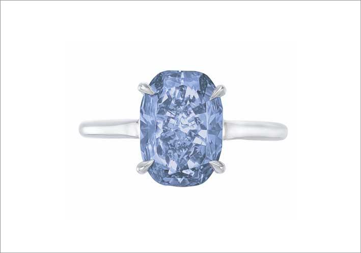 Anello con diamante blu da 3,07 carati