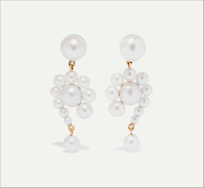Orecchini Escargot in oro e cluster di perle