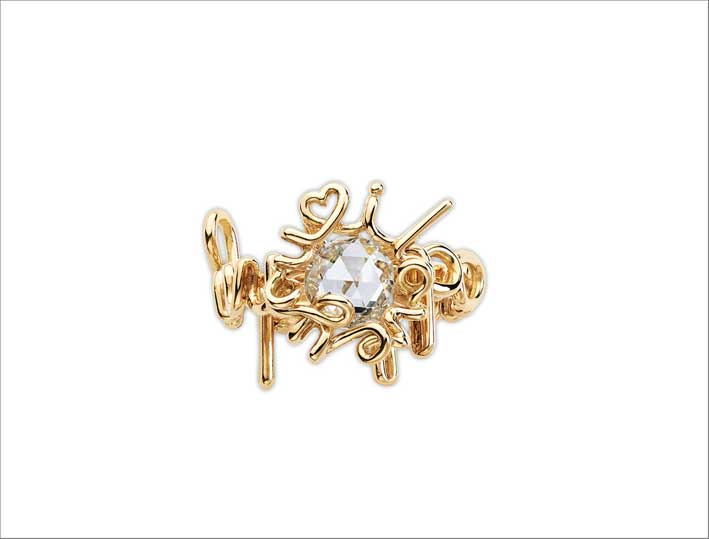 I Love You My Beloved ring, con diamante a taglio a rosa incastonato in oro giallo 18 carati
