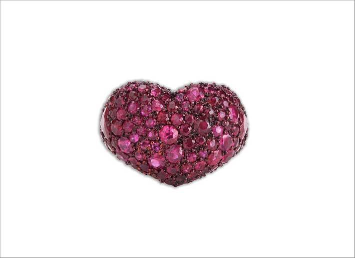 Anello Love Heart, in oro e rubini