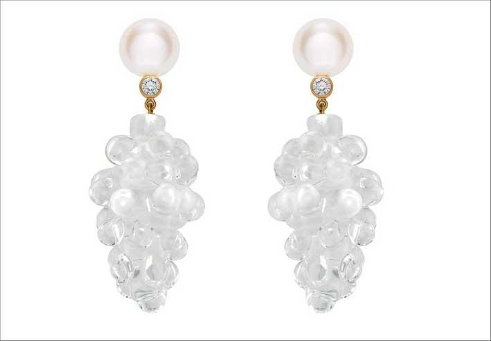 Orecchini in oro 14 carati con perle e vetro di Murano