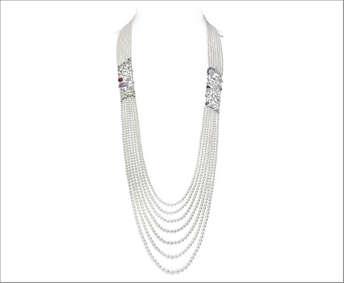 Collana in oro bianco 18 carati, perla coltivata Akoya, rubino, zaffiro, acquamarina, ametista, granato, diamante