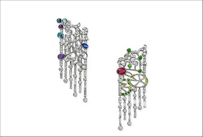 Orecchini in oro bianco 18 carati, rubino, zaffiro, ametista, acquamarina, granato, diamante