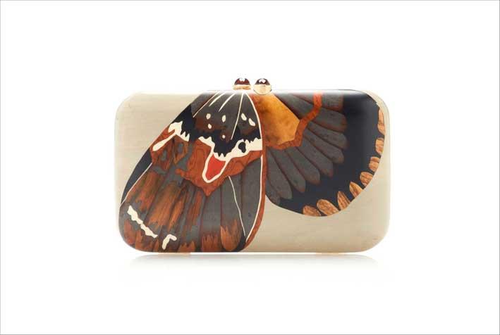 Pochette con intarsio a forma di farfalla
