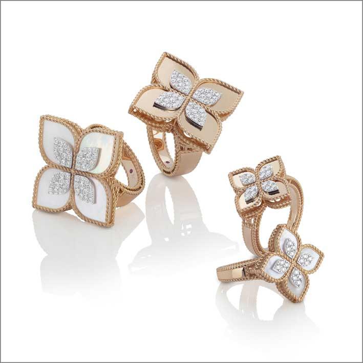 Anelli in oro rosa, madreperla, diamanti