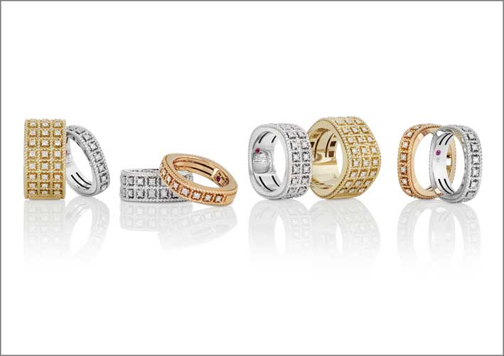 Rose, white and yellow gold rings with white diamonds