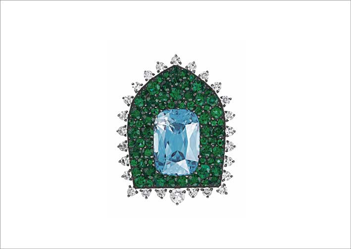Spilla di Jar con smeraldi, diamanti e zirconi
