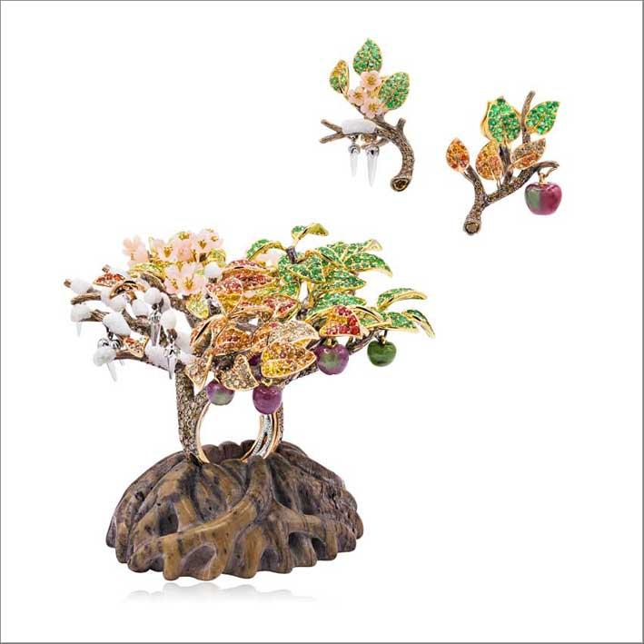 Alessio Boschi, set di anello albero della vita e orecchini